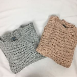 Pair of Aerie Chunky Knit Sweaters, Size XL